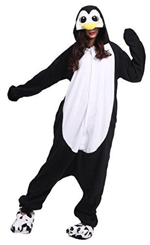 Kostüm Pinguin Strampelanzug - DELEY Unisex Erwachsene Cartoon Schwarz Pinguin Kapuzen Strampelanzug Cosplay Anime Pyjamas Nachtwäsche M