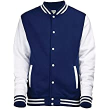College Chaqueta Mangas de color blanco en Black, Red, Blue, Grey, marina, lila, rosa, Green, Wine Size XS S M L XL XXL