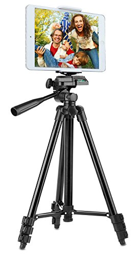 Tablet Stativ Halterung,128CM PEMOTech® 50 Zoll Aluminium-Kamerastativ 3-in-1 Kamera Stativ+Tablet Halter+Handy Halterung  für 4-10 Zoll Tablet iPad iPhone,Samsung Galaxy, Android Phones