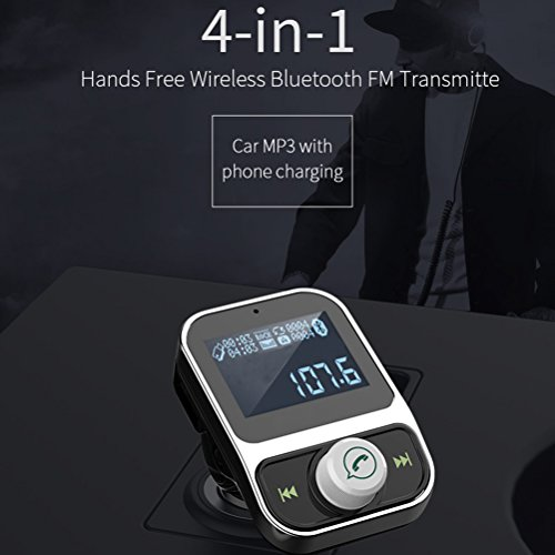 Blitz Auto Für Fm-transmitter (Bluetooth FM Transmitter Threecat® Auto MP3-Player Auto Radio USB-Blitz-Antrieb AUX Eingang Ausgang 3,5 mm Audio Port 1,44 Zoll LCD-Anzeige Hände frei)
