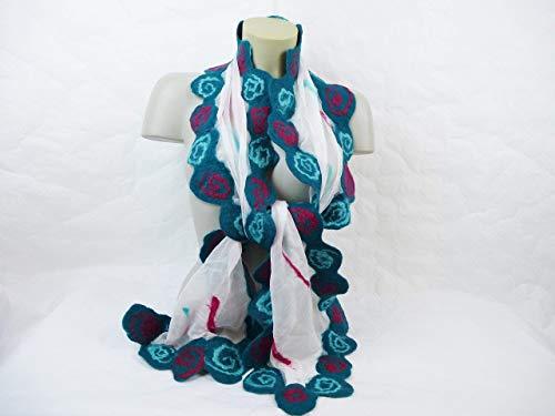 Seidentuch Seidenchiffon Schal Seide Halstuch Filz Wolle Weiß Petrol Geschenk zu Weihnachten