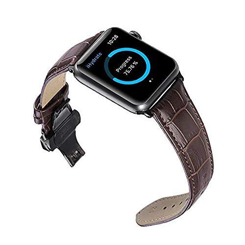 iStrap Kompatibel für Apple Uhrenarmband 38mm 42mm 40mm 44mm echtes Leder Ersatz Handgelenk Band Silber Faltschließe Armband Kompatibel für iWatch Sport Edition Serie 4 3 2 1