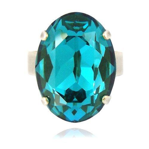 Anillo con Swarovski Elements–Plata indic Olite–variable ajustable–Nobel joyas