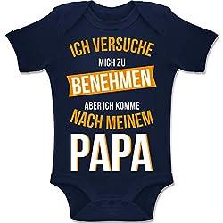 Shirtracer Sprüche Baby - Ich versuche Mich zu benehmen Papa orange - 3/6 Monate - Navy Blau - BZ10 - Baby Body Kurzarm für Jungen und Mädchen