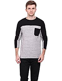 LE BOURGEOIS Black and grey color round neck with pocket full sleeve men's t-shirt