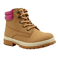 Apakowa Little Kids Shoes Boys Girls Lace Up Martin Sneaker Boots Waterproof Leather High-Top Classic Outdoor Boots (Color : Pinkbeige, Size : 1 UK)