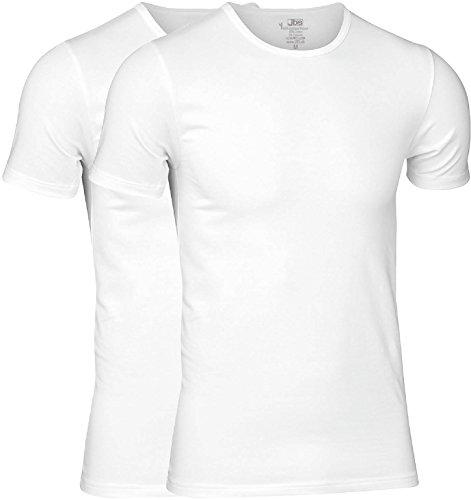 JBS - Hochwertiges T-Shirt für Herren im Doppelpack - Unterziehshirt aus Bambus-Viskose und Baumwolle - Rundhalsausschnitt - Weiss - Grösse L (JBS-1080-2-1-L)
