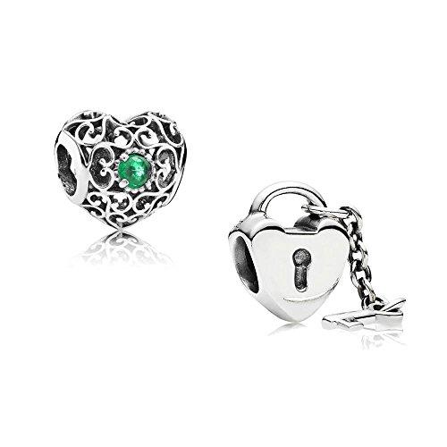 [A] Original Pandora Geschenkset - 1 Silber Charm 791784NRG Mai-Herz + 1 Silber Charm 790971 Schlüssel zu meinem Herzen