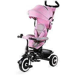Kinderkraft Bicicleta Triciclo para bebés Aston Trike Bici o Silla de paseo funcional con Pedales Volante de Padres Campana Capota Bolso Cup Holder Cesta amplia de 9 meses a 5 años color rosa