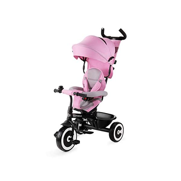 Kinderkraft Aveo KKRASTOPNK0000 Tricycle with Accessories in 3 Colours Pink kk KinderKraft Five point safety straps for the shoulders and an additional strap between the legs to protect the child from falling out A mechanism that connects the parent handlebar with the child's handlebar so that parents can have full control over the bike guidance when required. Free-wheel that causes the child to rmble freely regardless of the person who leads the bike 1