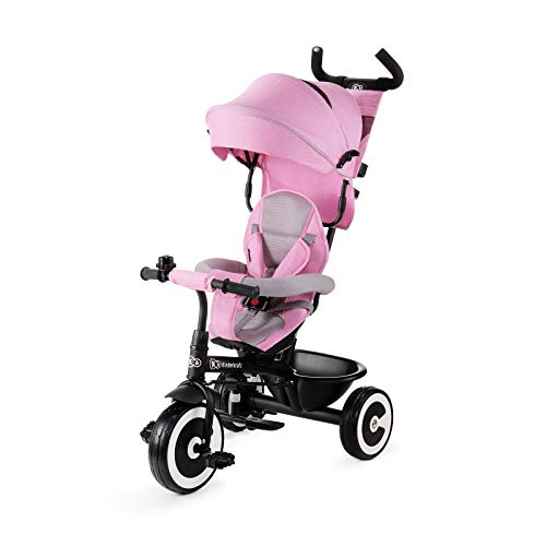 Kinderkraft ASTON Tricycle Enfant Évolutif, Canne Télescopique Amovible, Rose