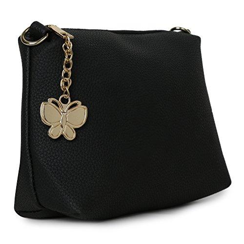 Butterflies Women Sling Bag (Black) (BNS-B-2038#BK)