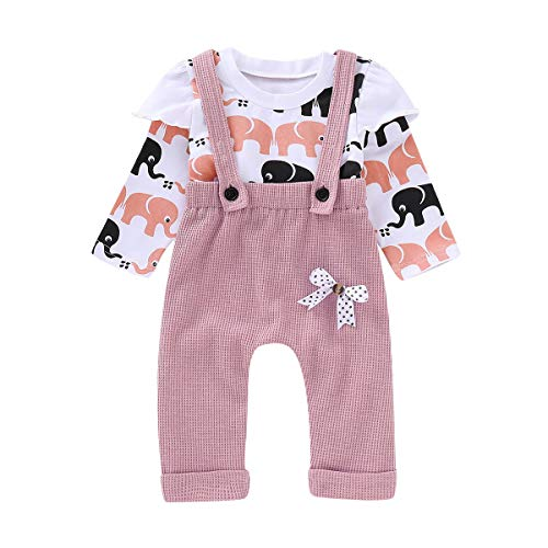 Puseky 2pcs / Set Baby Toddler Girl Elephant Camisa de Manga Larga...