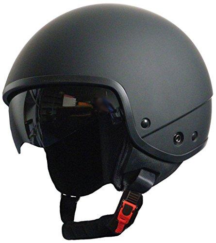 Jethelm Helm Motorradhelm Rollerhelm Chopperhelm mit Sonnenblende RALLOX 740D schwarz/matt (S, M, L, XL ) Größe M