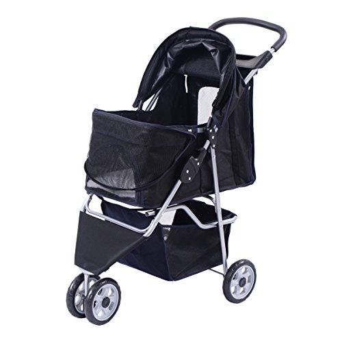 Cochecito Silla de viaje para Mascotas Pet con tres ruedas transporte Plegable Malla Cremallera (Negro)