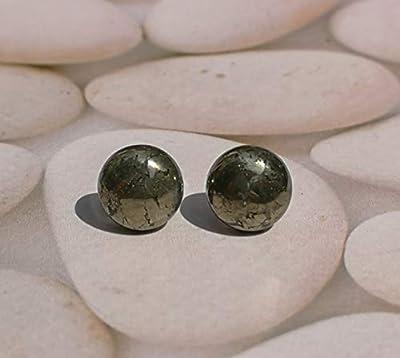 Boucles d'oreilles en metal argente avec Pyrite