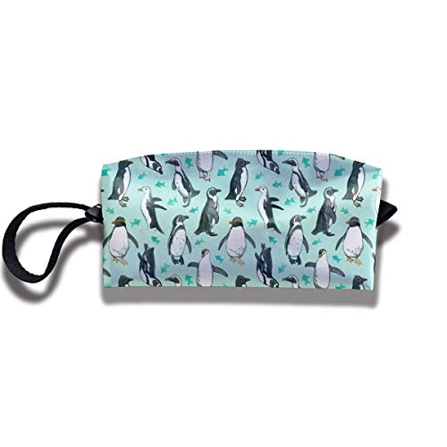 Small Watercolor Penguins Print Elegant Cosmetic Pouch Bag Cute Toiletry Purse Travel Cosmetic Bag Pouch with Zipper