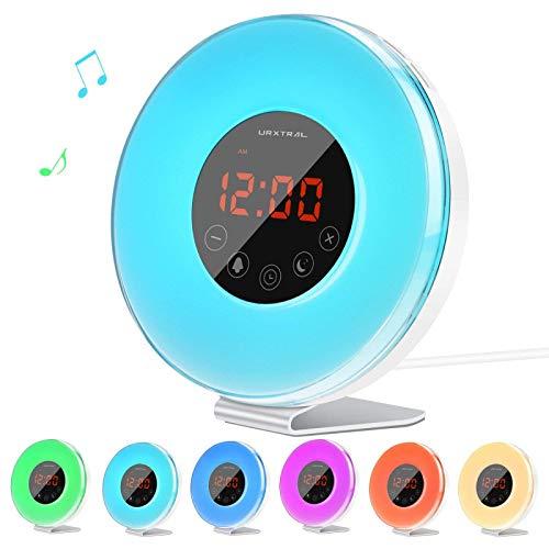 CANDYANA Wake Up Light Wecker für Schlafzimmer - Sunrise/Sunset Simulation mit 7-Farben-Licht und Touch Control-Funktion,Color1
