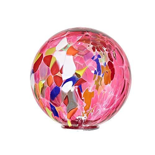 Cristalica Gartenkugel Glas Kugel klein Gartendeko Rosa 13 cm inkl. Stab Point