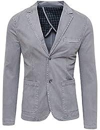 Blazer Giacca Uomo Grigio Slim Fit Elegante Formale Casual 2bae6e30964