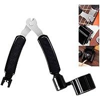 Mallalah Herramienta de mantenimiento de guitarra 3 en 1, cuerda Winder, corte de cuerdas, extractor de cuerdas, negro