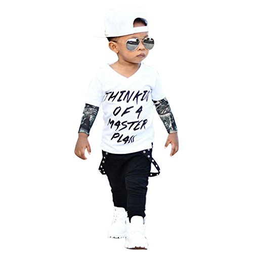 JYJM Neugeborenes kühles Baby Buchstabe Tätowierungs T-Shirt Oberseiten Hosen Ausstattungs Kleidung Satz (Größe: 18-24 Monate, White)