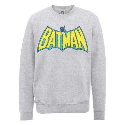 DC Comics Official Batman Logo Crackle Womens Sweatshirt, Felpa Donna grigio (Heather Grey)