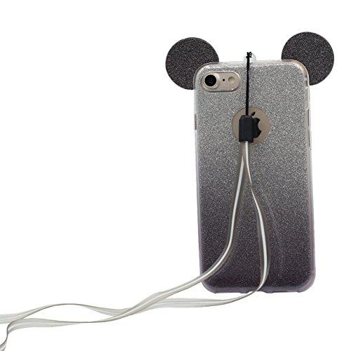 Schutzhülle für iPhone 6S Hülle Hübsch Schön Cartoon Mouse-Ohren Gestalten Serie Dünn Style Leicht Weich Silikon Transparent Case Cover für Apple iPhone 6 6S 4.7 inch X 1 Stylus-Stift - rosa schwarz