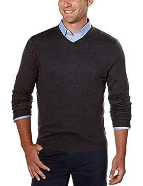 Calvin Klein hombres de sólido de Merino con cuello en V