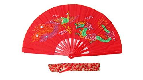 CHN Elements.accessories FD-DP-Red-Bamboo Folding Fan Tai Chi Fan/Kung Fu Fan/Martial Arts/Dancing Fan Oriental Design-Dragon&Phoenix
