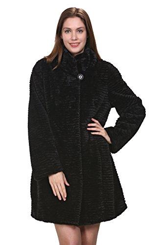 Adelaqueen Damen Wintermantel im luxuriösen persischen Lammfell Fantastischer Kunstfell Mantel Stylisch In Schwarz Ohne Kapuze (Größe: XL)