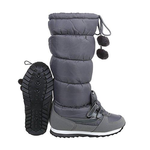 Stivali Classici Scarpe Da Donna Stivali Classici Stivali Ital-design Imbottiti Caldi Grigio