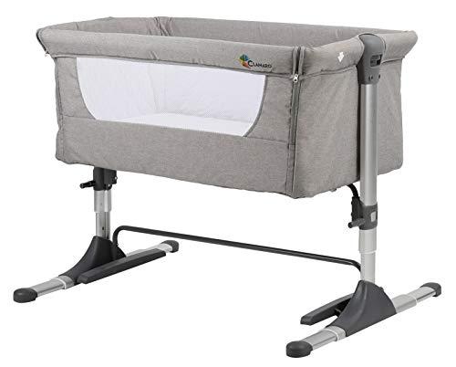 Clamaro 'Panda' 3in1 Baby Beistellbett Reisebett Babybett mit Matratze, 4-fach höhenverstellbar mit Schaukelfunktion und stabilem Alu Rahmen (zusammenklappbar) - Zustellbett inkl. Transporttasche