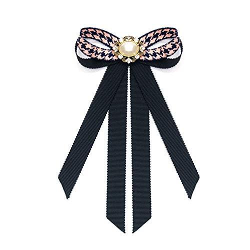Nowbetter Damen-Brosche mit Schleife, Netzstoff, Blumenapplikation, eingelegte Strasssteine, Krawatten-Brosche, rot, 10.5 * 16CM