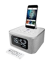 Neptune Speaker Docking Station Bluetooth Alarm Clock Fm Radio Lightning Dock For Iphone 5 5s 5c 6 6+ 6s 7 7+ Ipad Air Mini Ipod (White)