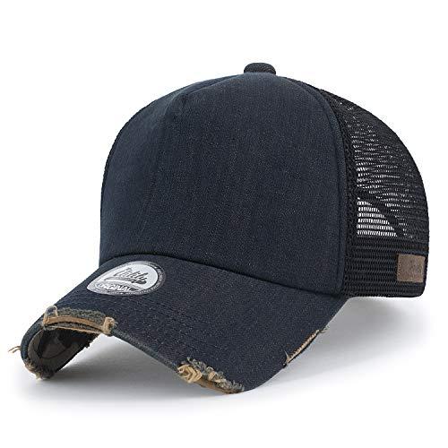 ililily Baumwolle Denim Netz Kappe gebogen Baseball Cap blank abgenutztes Aussehen Trucker Cap Hut, Dark Blue Denim, Medium Blank Trucker Hats