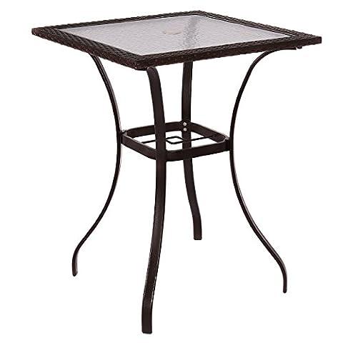 Costway Gartentisch Rattantisch Esstisch Bistrotisch Terassentisch Balkontisch Polyrattan Metall Glas