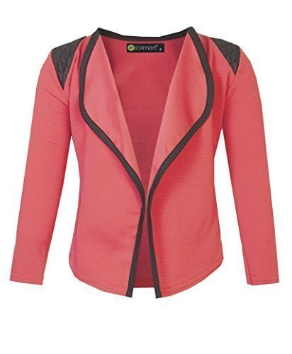 LOTMART-Girls-Long-Sleeve-Quilted-Shoulder-Open-Front-Jacket-Kids-Cardigan-Top-11-12-Years-Coral