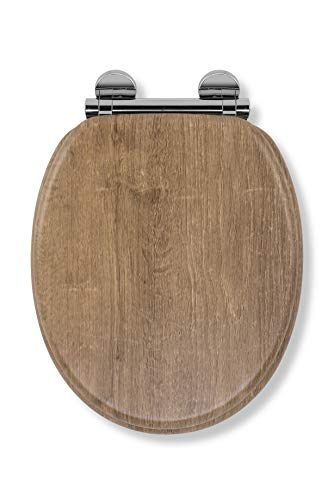 Croydex Flexi-Fix Ontario Immer passt nie gleitet langsam schließender WC-Sitz, Teak, Holz, Distressed Teak Effekt, 45x 37,8x 6cm (Langsam, Wc-sitz)