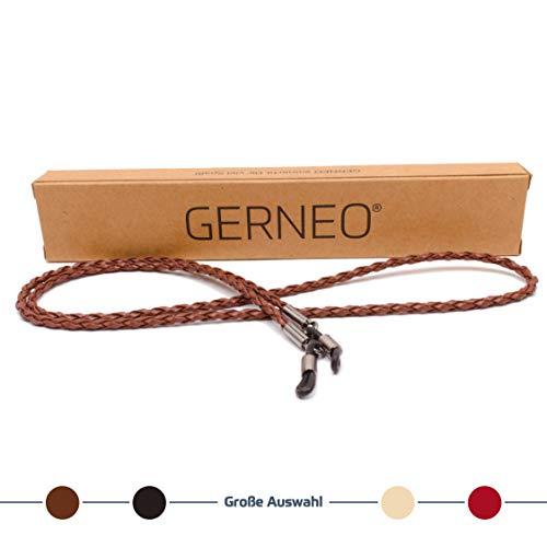 GERNEO - Premium Leder Brillenband & Brillenkordel - geflochten - braun - für Lesebrille & Sonnenbrille
