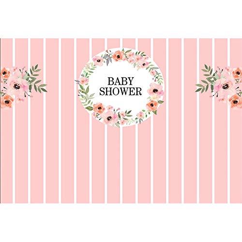 sche Hintergrund Babydusche Kranz Blume Rosa Streifen Hintergrund Baby Dusche Party Gender Reveal Baby Porträt Fotografie ()