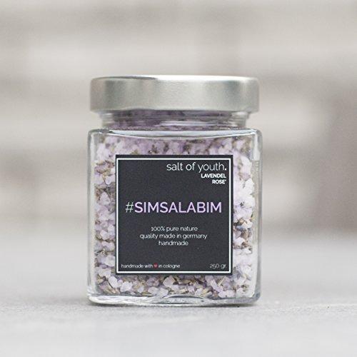 "salt of youth ""SIMSALABIM"" Premium Wellness Badesalz / Luxus Badezusatz 250 Gramm grobes Totes Meer Salz & getrocknete Lavendel Blüten"