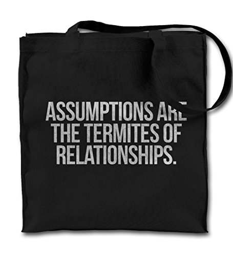 assumptions-are-termites-of-relationships-clever-citazione-nero-canvas-tote-bag-panno-shopping-bag-a