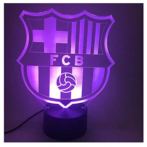 Barcelone F.C. Club de football Veilleuse LED Effet visuel 3D,interrupteur tactile,conversion sept couleurs,belle lampe d'ambiance,beau cadeau de vacances pour les enfants et les amis