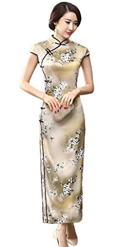 Smile YKK Femme Cheongsam Courtes Robe Qipao Elégant Lotus Or