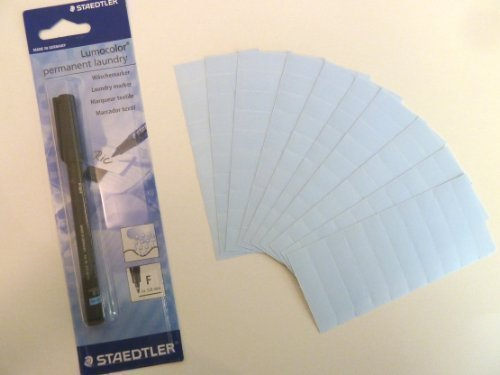100, Blau, mit Name Tapes mit Schwarzer Permanent-Marker Maker Stift, Namensschild Etiketten-Ideal für Kinder, Schule oder Altersheimen und Pflegeheimen