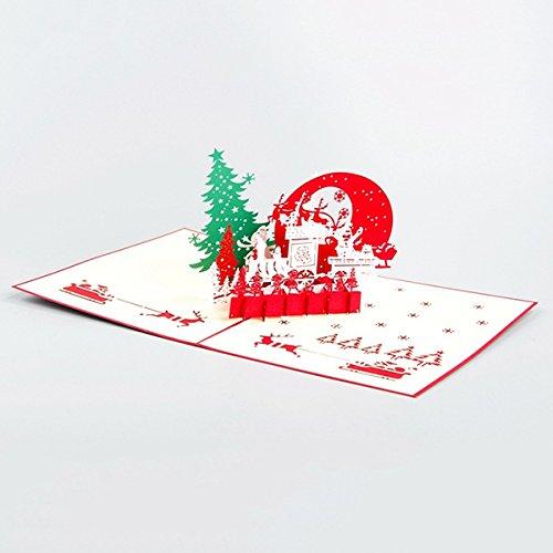TOPmountain 3D Pop Up Büttenpapier Karten 1 Stück Papier Handwerk Grußkarte Haus und Baum Gruß Cardlope Rote verzierende Karte mit Umschlag Weihnachtsgeschenk