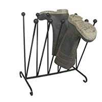 Wimborne wrought iron works 6 Pair Wellington Boot Holder Rack Angled Heavy Duty