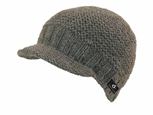 Teddy handmade in Nepal Strickmütze Schildmütze mit Fleece, 100% Wolle, Wintermützen TOP NEU (grau)
