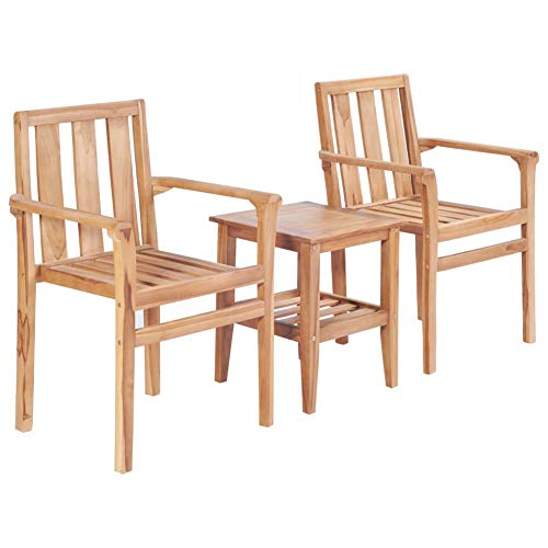 BIGTO Bistro Set Solid Teak Wood Outdoor Garden Table and Chairs Set of 2 Garden Furniture Sets